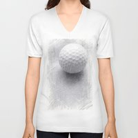 golf V-neck T-shirts featuring GOLF by Yilan