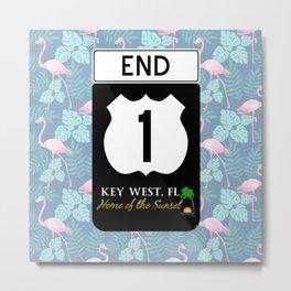 Highway A1A Sign Key West Florida Flamingos Metal Print