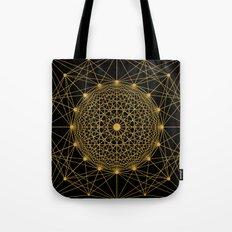 Geometric Circle Black and Gold Tote Bag