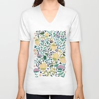 flower pattern V-neck T-shirts featuring Flower Pattern by Jo Cheung Illustration