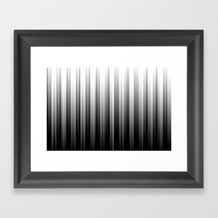 Black And White Soft Blurred Vertical Lines - Ombre Abstract Blurred Design Framed Art Print