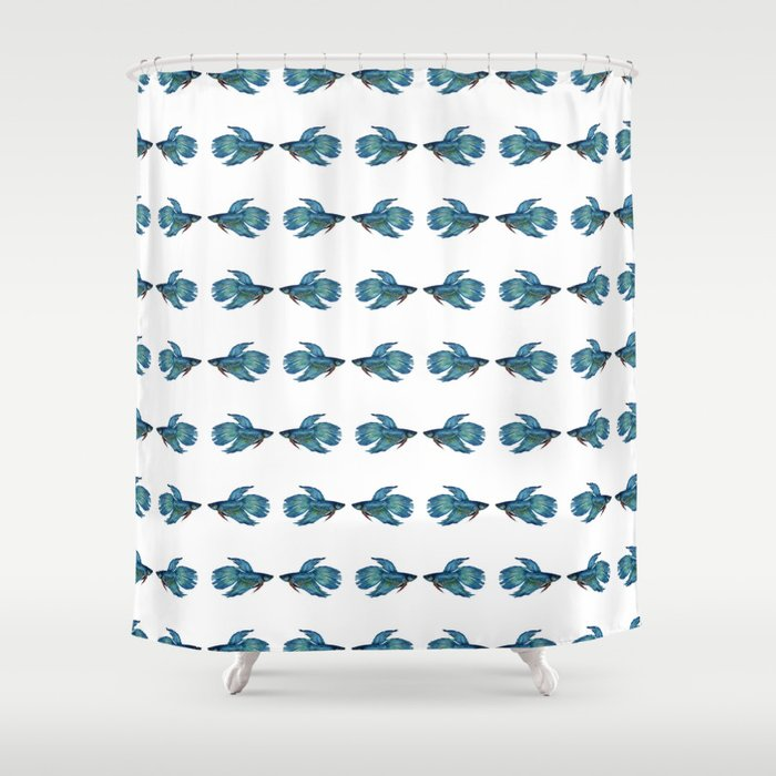 Kissing Betta Fish Shower Curtain by cindylouillustration | Society6