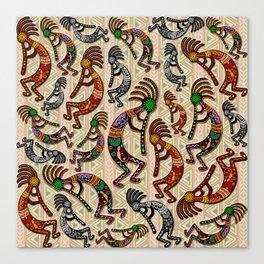 Kokopelli Rainbow Colors on Tribal Pattern  Canvas Print