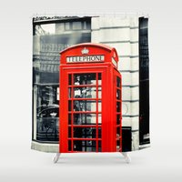 telephone Shower Curtains featuring British Telephone Booth by JMcCool