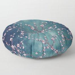 SAKURA LOVE  GRUNGE TEAL Floor Pillow