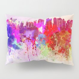 Doha skyline in watercolor background Pillow Sham