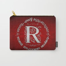 Joshua 24:15 - (Silver on Red) Monogram R Carry-All Pouch