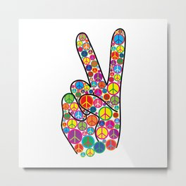 Cool Colorful Groovy Peace Sign and Symbols Metal Print