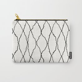 Moroccan Diamond Weave in Black and White Carry-All Pouch