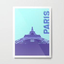 Paris City Travel Duotone Metal Print