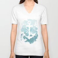 nautical V-neck T-shirts featuring Nautical Watercolor by joeyj
