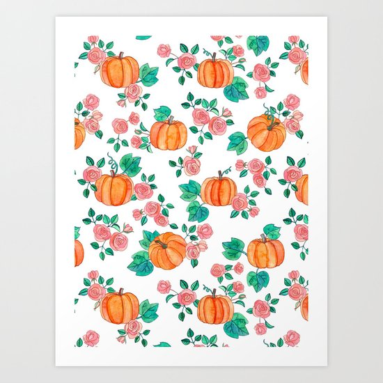 Pumpkins and Roses Art Print