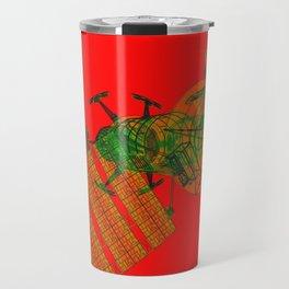 Explorer Schematic Warped Green on Red Travel Mug
