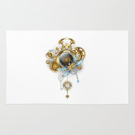 Steampunk Clock with Mechanical Dragonfly Rug