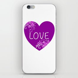 Heart Love violet with Flowers Illustration iPhone Skin
