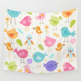 Birds - Off White Wall Tapestry