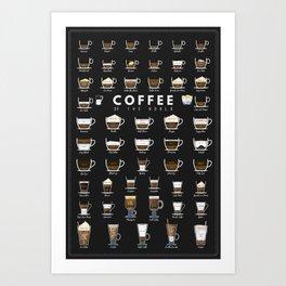 Coffee Types Chart Art Print