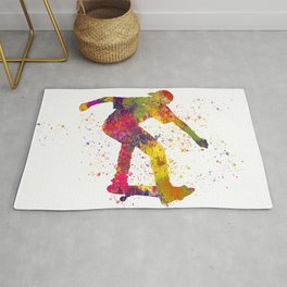 Boy on skateboard illustrated in watercolor 02 Rug