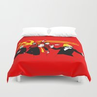 politics Duvet Covers featuring The Communist Party (original) by Tom Burns