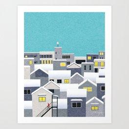 City with snow Art Print