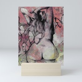 Sugar Coated Sour: Pomegranate (nude curvy pin up with butterflies) Mini Art Print