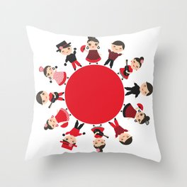 Spanish flamenco dancer. Kawaii cute face with pink cheeks and winking eyes. Gipsy Throw Pillow