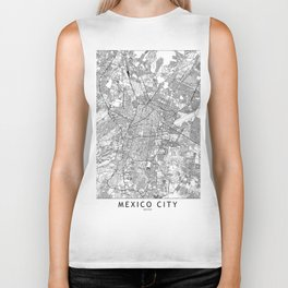 Mexico City White Map Biker Tank