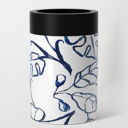 Tropical Plant Boho Chinoiserie Blue and White Can Cooler