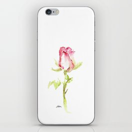 Single Hand Painted Watercolor Pink Red Rose iPhone Skin