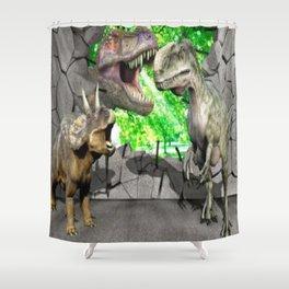 3D Dinosaurs and Broken Wall Shower Curtain