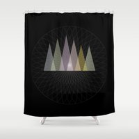 nirvana Shower Curtains featuring Nirvana Mountain by Pia Schneider [atelier COLOUR-VISION]