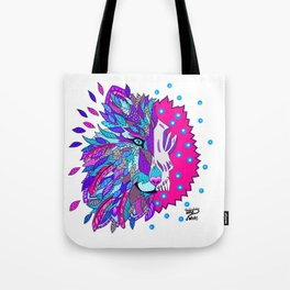 Wolf with Feathers Spirit Animal Pop Art Print Bold Tote Bag