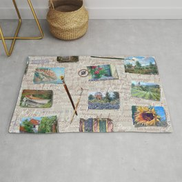 Postcards From France Pattern Rug