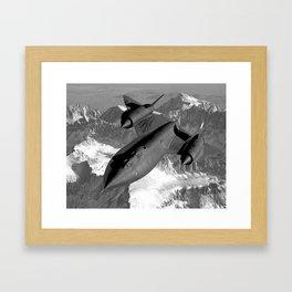 SR-71 Blackbird Flying Framed Art Print