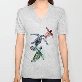 Sea Turtle Family, family art Unisex V-Neck