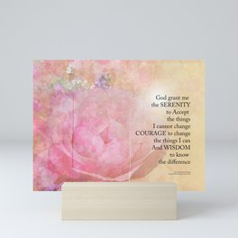 Serenity Prayer Pink Rose Floral Collage Mini Art Print
