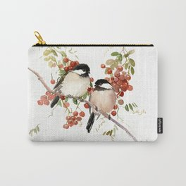 Chickadee Bird Vintage Bird Artwork, two birds, chickadees woodland design Carry-All Pouch