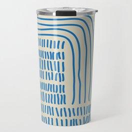 Digital Stitches thick beige + blue Travel Mug