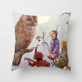 """A Carol for Brown Owl"" by Margaret Tarrant Throw Pillow"