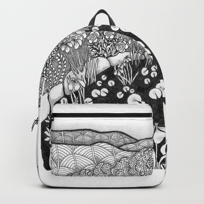 Zentangle Vermont Landscape Black and White Illustration Backpack