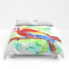 Watercolored Parrot Comforters