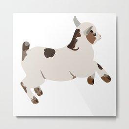 Baesic Prancing Goat (White) Metal Print