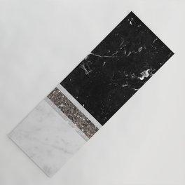 Black and White Marble Silver Glitter Stripe Glam #1 #minimal #decor #art #society6 Yoga Mat