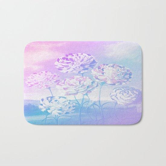 Colorful Pastel Flowers Bath Mat