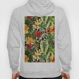 Tropical Vintage Exotic Jungle Flower Flowers - Floral watercolor pattern Hoody