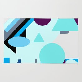 geometrical shapes in blue purple grey and black Rug