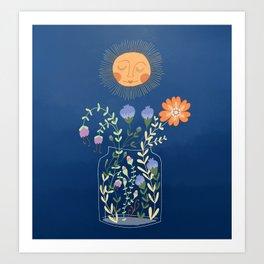 Sunshine Over Flowers Art Print