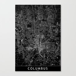 Columbus Black Map Canvas Print
