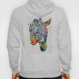 Colorful Zebra Face by Sharon Cummings Hoody