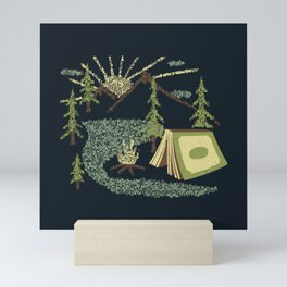 Camping Inside a Book I Love to Read Illustration Made With Letters Mini Art Print
